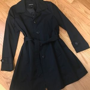 London Fog Black Knee Length Trench Coat Size L
